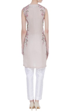 Zipper style cherry blossom embroidered tunic