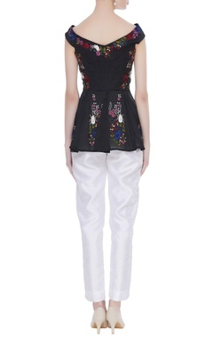 Peplum blouse in bug & floral embroidery