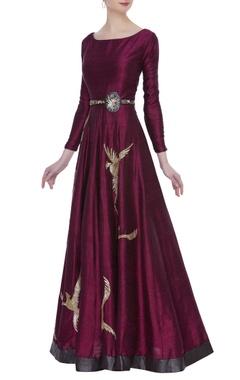 Raw silk sequin gown