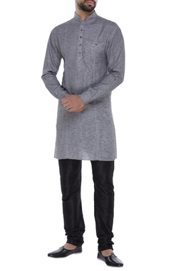 Dual color textured swiss cotton kurta set