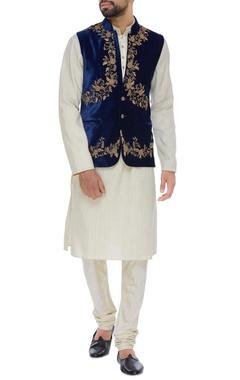 Velvet zardozi embroidered jacket set
