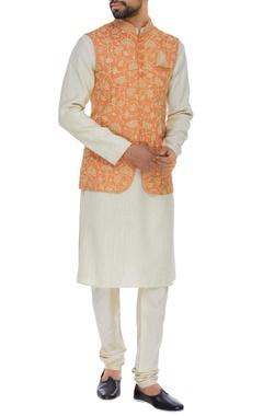 Jute silk long nehru jacket set