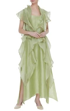Anamika Khanna Slip dress with flouncy ruffle cape