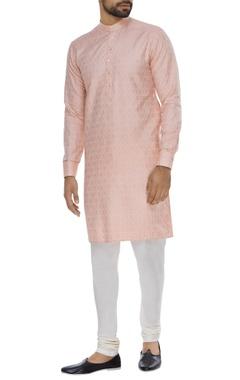 Self embossed cotton silk kurta