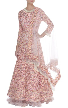 Manish Malhotra Kashmiri embroidered anarkali with net dupatta & pants