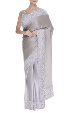 Manish Malhotra Sequin & pearl embroidered border sari with unstitched blouse fabric.