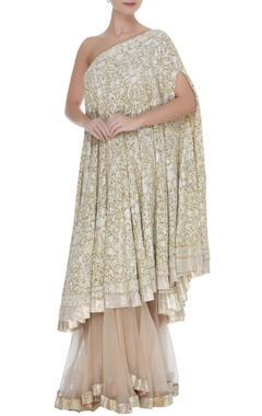 Manish Malhotra Sequin & kashmiri embellished one shoulder kurta with sharara pants