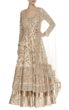 Manish Malhotra Embroidered anarkali jacket with frill lehenga & dupatta