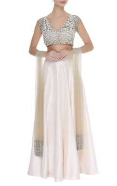 Manish Malhotra Embroidered blouse with lehenga and dupatta