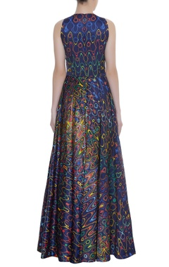 Abstract Print Sleeveless Gown