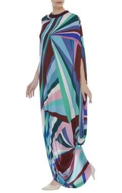 Printed cowl draped Dress