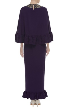 Ruffled Top With Embroidered Neckline