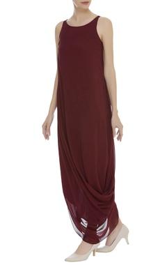Cowl Draped Sleeveless Dress