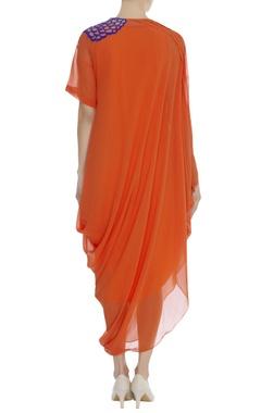 Embroidered shoulder draped dress
