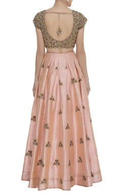 Booti work lehenga with embroidered blouse and dupatta