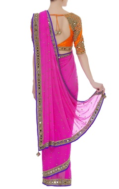 Embroidered sari with mirror work blouse