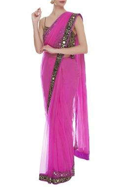 Arpita Mehta Mirror embroidered sari with blouse