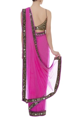 Mirror embroidered sari with blouse