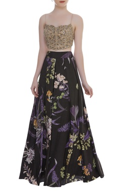 Arpita Mehta Embroidered blouse with wildflower printed palazzo