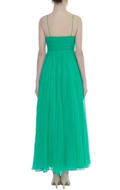 Pleated yoke maxi dress