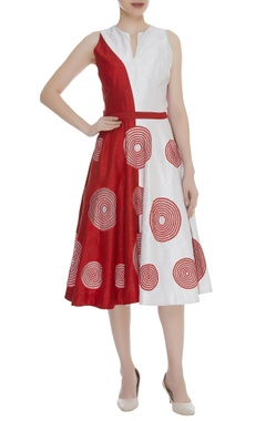 Circular Print A-Line Midi Dress