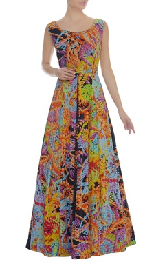 Printed Gown With U-Back