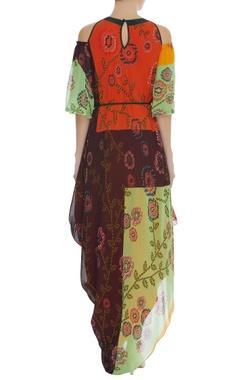 Floral Print Cowl Draped Dress