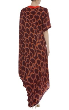 Cowl Pleat Printed Dress
