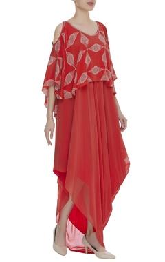 Printed Cold Shoulder Cape Dress