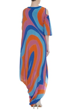 Cold Shoulder Abstract Print Dress