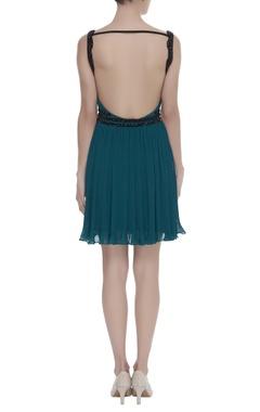 Backless Dress With Sequin Belt Detailing