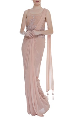 Arpan Vohra Embroidered bodice gown with front drape