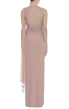 Embroidered bodice gown with front drape