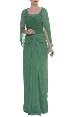 Arpan Vohra Embroidered gown with attached cape