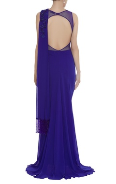 Bead embroidered gown with attached drape