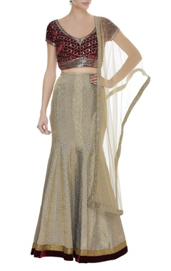 Arpan Vohra Sequin embroidered blouse with brocade lehenga set