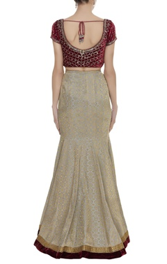 Sequin embroidered blouse with brocade lehenga set