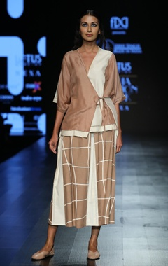 Wrap top with flared sleeves