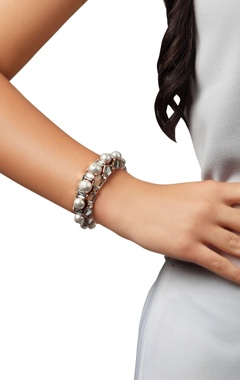 Handcrafted cuff bangle in pearls & mirrors
