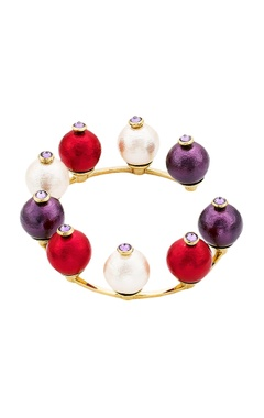 Multicolored pearls handcrafted cuff bangle
