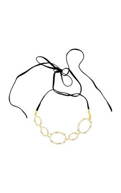 Isharya Celeste oval suede choker necklace