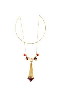 Pearl tassel double layer necklace