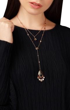 Double layer renaissance mirror work necklace