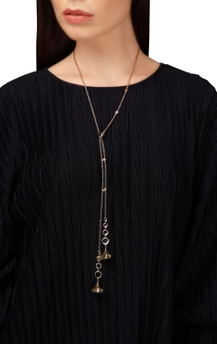 Lariat necklace with mirror work