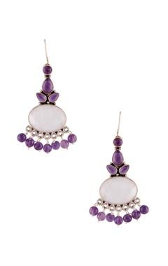 Studded long dangling earrings