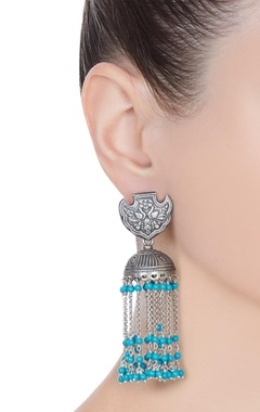 Long jhumka earrings with dangling chains