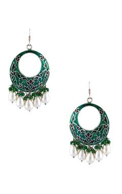 Meenakari painted pearl dangling earrings
