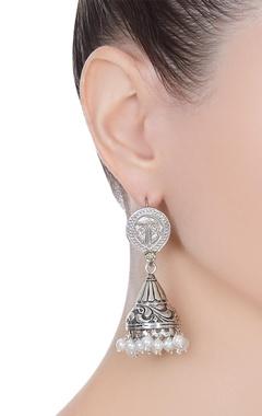 Antique finish jhumka statement earrings