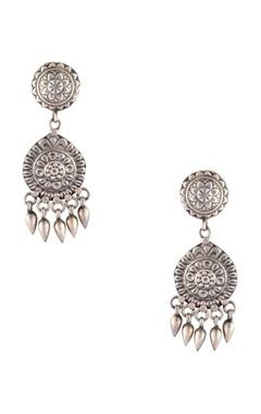 Antique finish long drop earrings