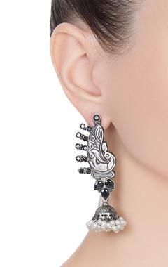 Peacock motif earrings with dangling pearl jhumkas